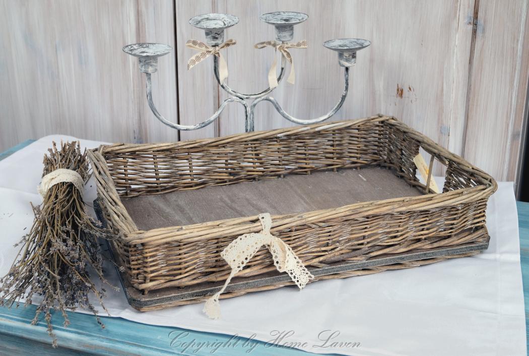 tablett serviertablett deko holz rattan braun landhaus. Black Bedroom Furniture Sets. Home Design Ideas